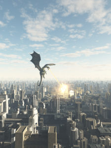 Dragon Attacking City 225x300 Flash Fiction: Office Worker, Dragon Slayer
